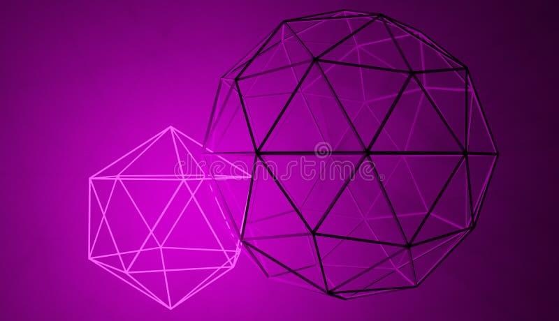 La forma al neon geometrica astratta si è collegata con il solido quello d'ardore illustrazione di stock