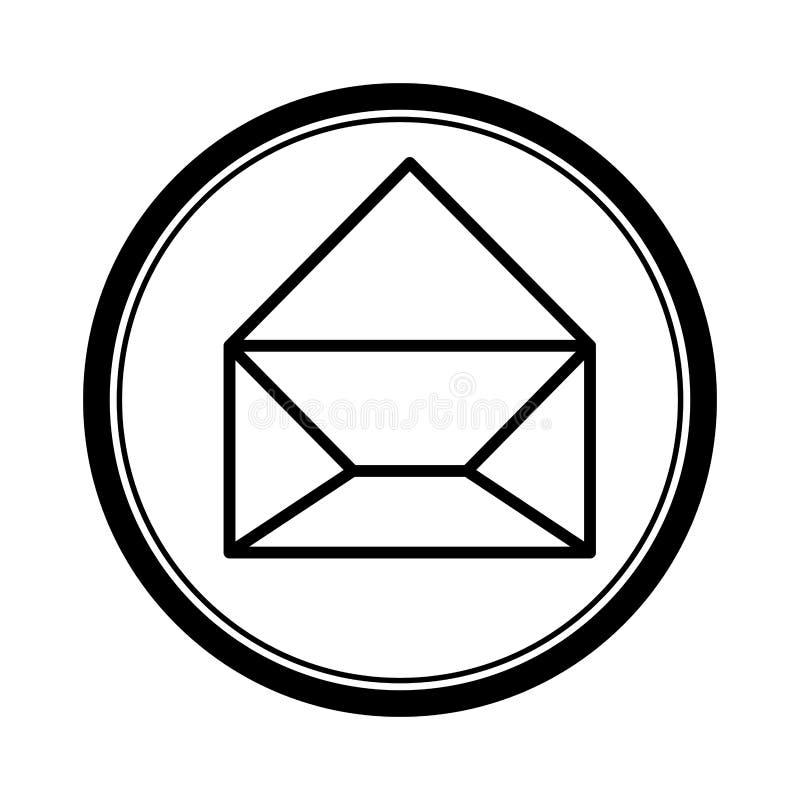 la forma circular con el sobre del papel de la silueta abrió el icono stock de ilustración