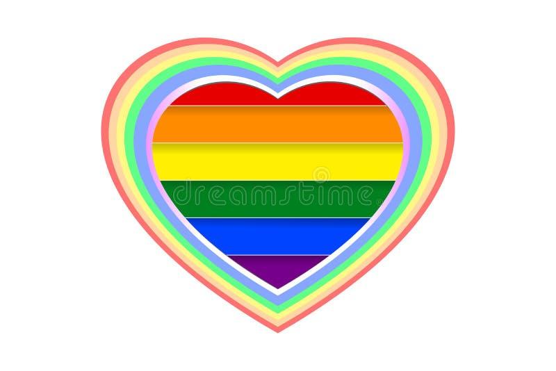 La forma colorida y de varias capas del corazón sobre el arco iris LGBT coloreó las rayas, aisladas en el fondo transparente blan stock de ilustración