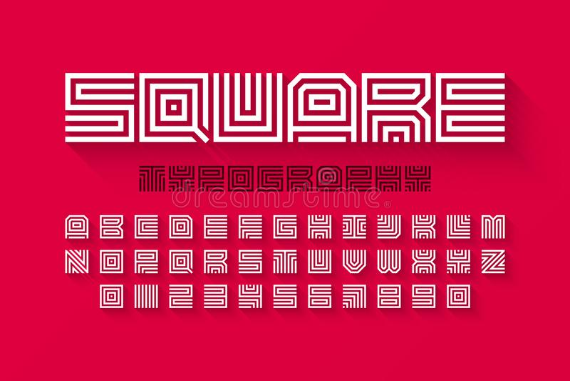 La forma cuadrada pone letras a la fuente linear con la sombra ilustración del vector