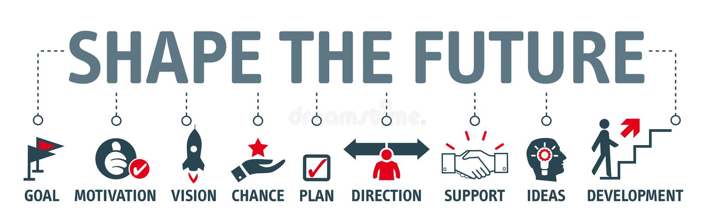 La forma de la bandera el futuro - buscando futuro y hace planes ilustración del vector
