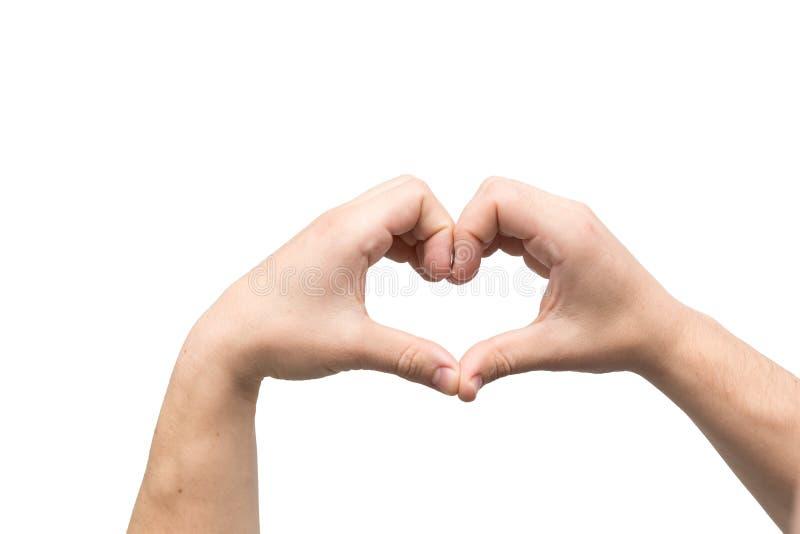 La forma del corazón hizo de dos palmas imágenes de archivo libres de regalías