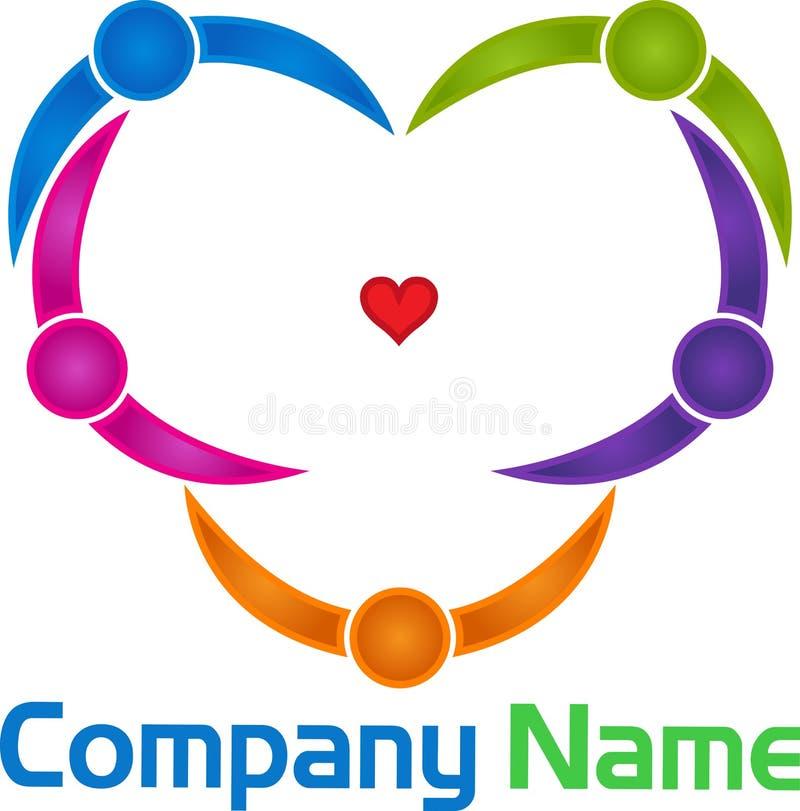 La forma del corazón junta el logotipo ilustración del vector