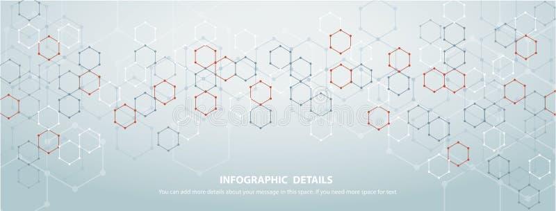 La forma del vettore astratto EPS10 del fondo di tecnologia di progettazione di massima di esagono illustrazione vettoriale