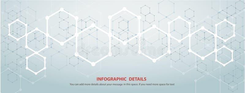 La forma del vettore astratto EPS10 del fondo di tecnologia di progettazione di massima di esagono royalty illustrazione gratis