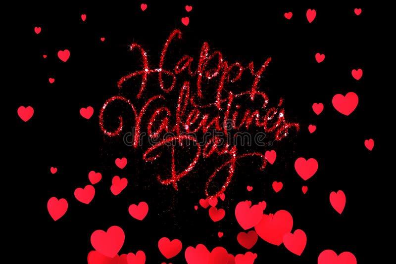 La forma felice di parola di giorno di S. Valentino di scintillio rosso della scintilla con rosso riscalda l'aumento di forma che illustrazione vettoriale