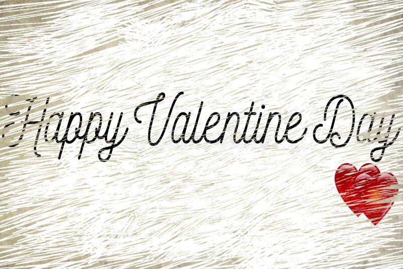La forma felice di parola di giorno di S. Valentino sul vecchio fondo di carta d'annata di lerciume con i cuori rossi modella, am immagine stock