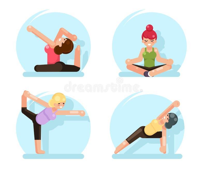 La forma fisica sveglia delle ragazze di yoga posa l'illustrazione piana di vettore di progettazione royalty illustrazione gratis