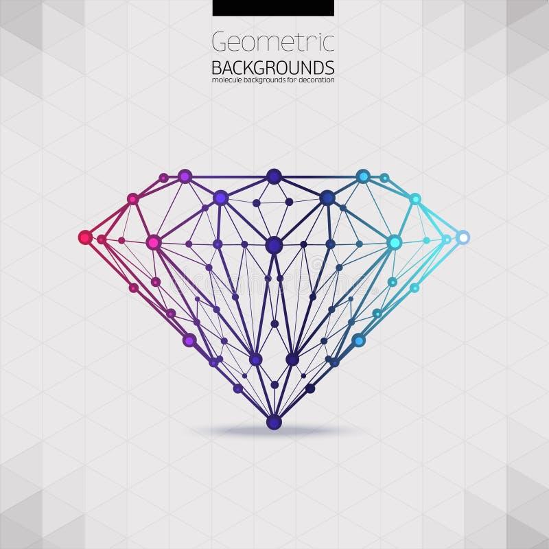 La forma geométrica del enrejado de diamante molecular stock de ilustración
