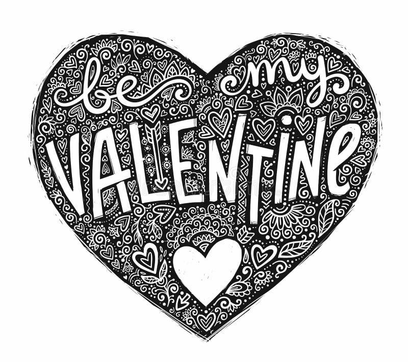 La forma nera del cuore di lerciume con l'ornamento di scarabocchio e l'iscrizione disegnata a mano è il mio biglietto di S. Vale royalty illustrazione gratis