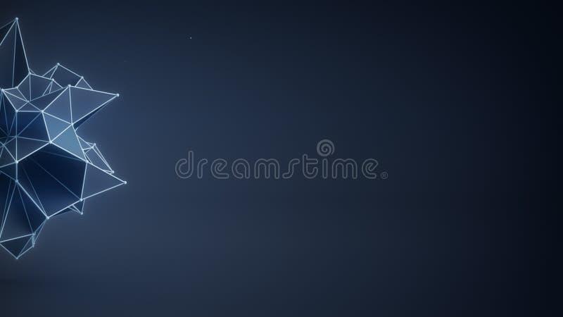 La forma poligonal azul y el espacio libre 3D rinden stock de ilustración