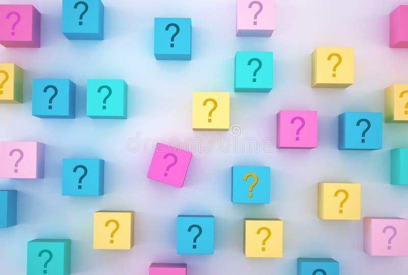 La forma variopinta del blocchetto del cubo con il simbolo del punto interrogativo del segno su fondo bianco Concetto minimo di d immagini stock libere da diritti