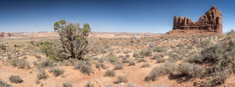 La formación de roca y el cepillo del desierto arquea el parque nacional Utah foto de archivo libre de regalías