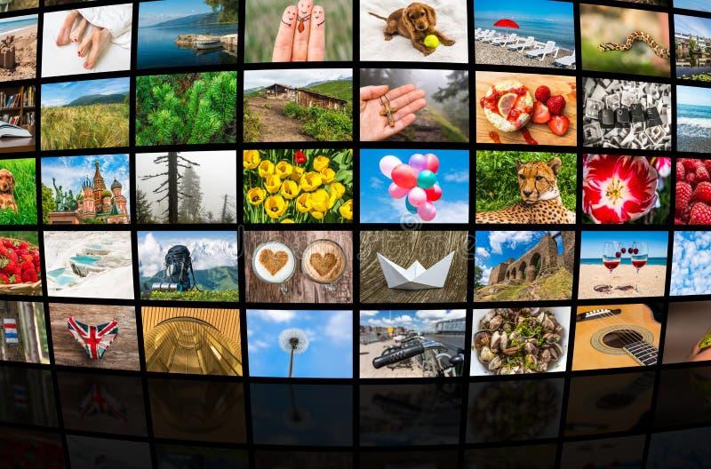 La formation d'écrans de grands multimédia a annoncé le mur visuel images libres de droits