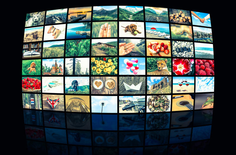 La formation d'écrans de grands multimédia a annoncé le mur visuel photo libre de droits