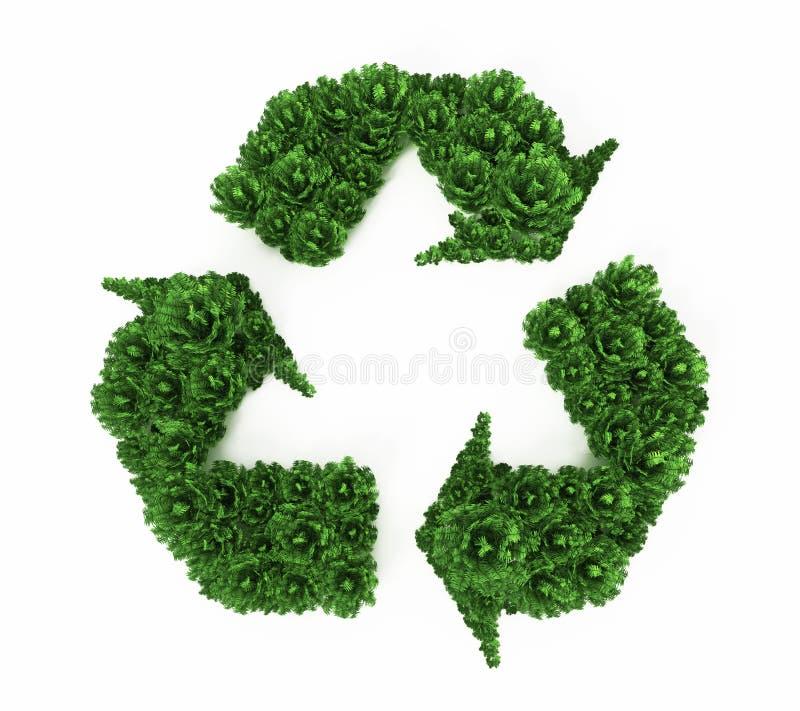 La formation verte de buissons réutilisent le symbole illustration 3D illustration libre de droits