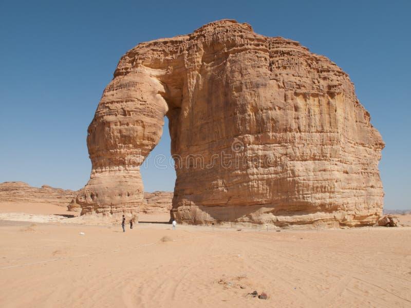 La formazione rocciosa conosciuta come la roccia dell'elefante in Al Ula, Arabia Saudita KSA fotografie stock libere da diritti