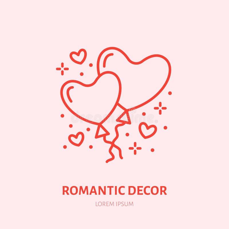 La forme de coeur monte en ballon l'illustration Faites la fête la ligne plate icône, relations romantiques de décoration Signe d illustration stock