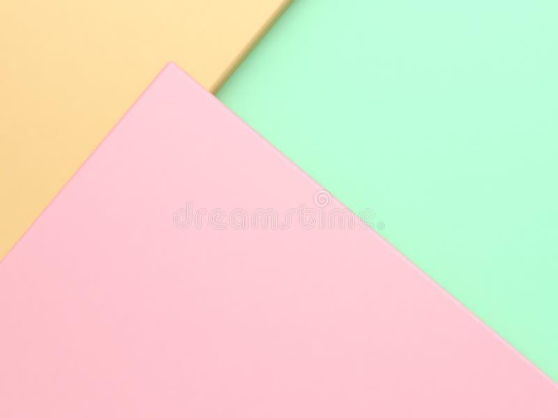 La forme géométrique jaune verte de couleur en pastel de rose a incliné le fond abstrait minimal 3d pour rendre images stock