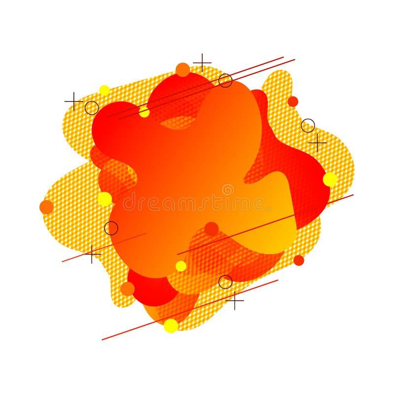 La forme orange de gradient d'abrégé sur vecteur, abstraction liquide géométrique a isolé, élément à la mode de conception modern illustration stock