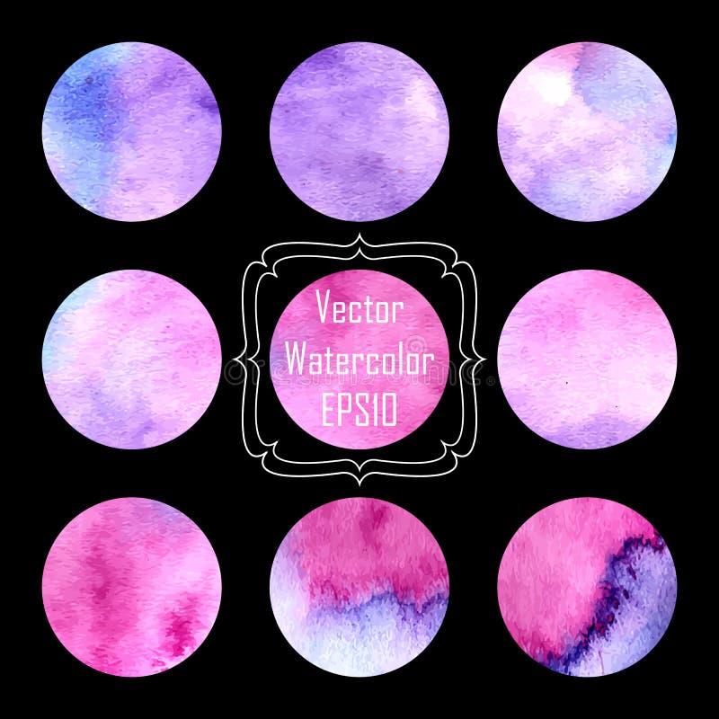 La forme peinte à la main de cercle de rose, de lilas et d'aquarelle pourpre conçoivent des éléments images libres de droits