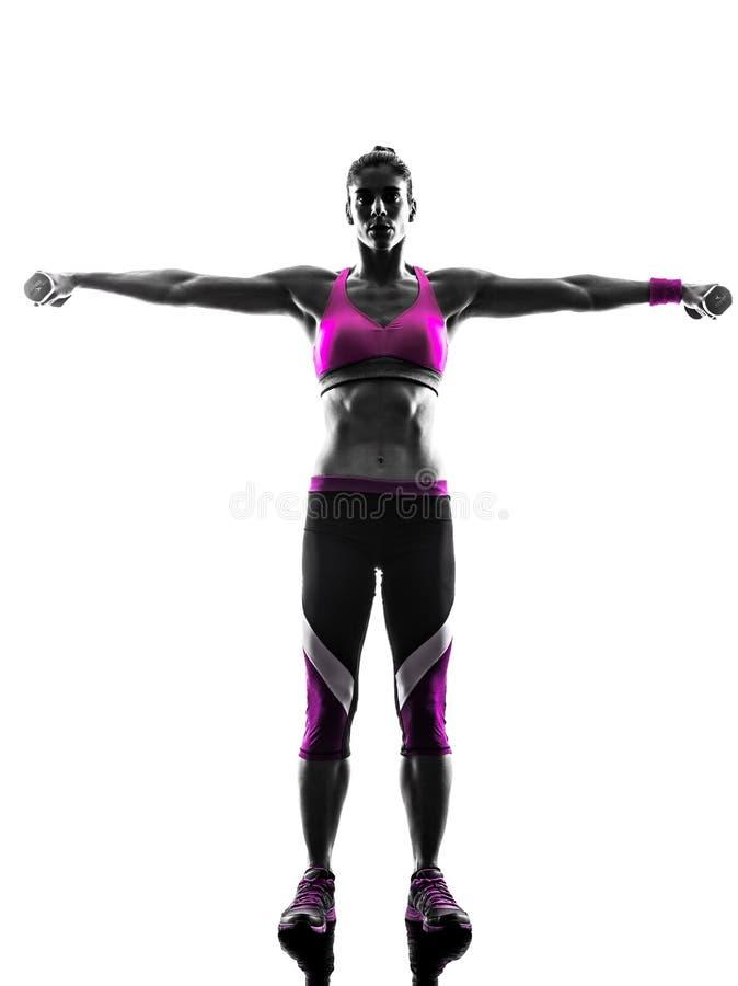 La forme physique de femme pèse la silhouette d'exercices photos libres de droits