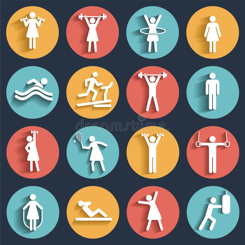 La forme physique, icônes plates de vecteur de sport a placé avec des ombres illustration stock