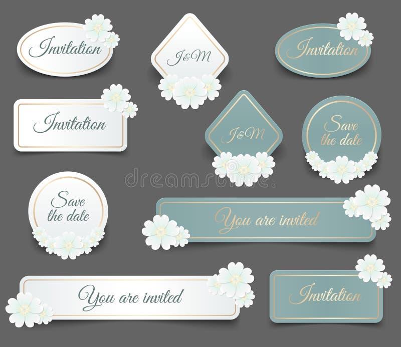 La forme réaliste de label de vecteur avec le cadre d'or et la marguerite blanche fleurissent pour vous l'invitation de mariage o illustration libre de droits