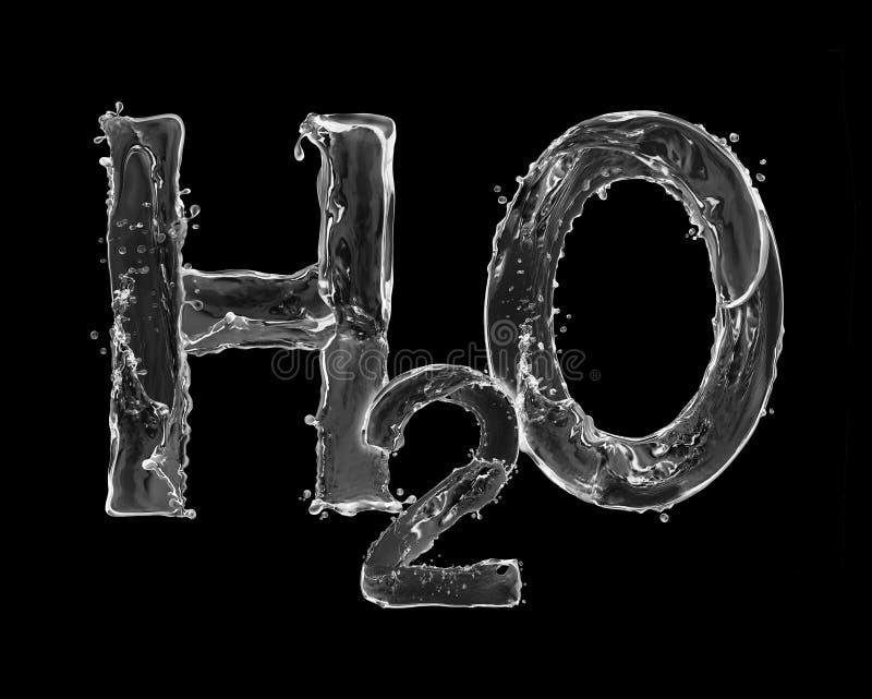 La formule chimique de l'eau faite d'eau éclabousse sur le noir illustration libre de droits