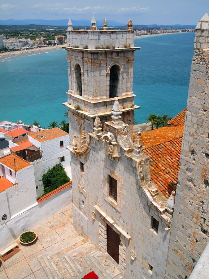 La fortaleza de Peniscola, España Costa del Azahar, reino de Aragonese, la orden del Templars imágenes de archivo libres de regalías