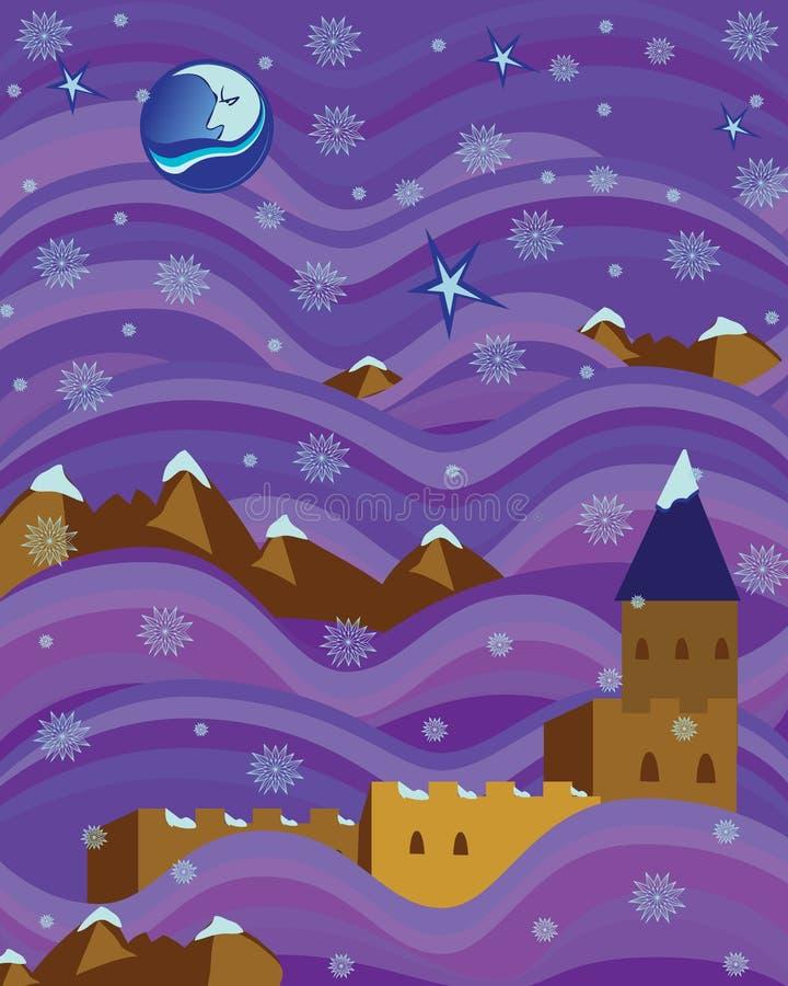 La fortaleza en púrpura agita noche nevosa stock de ilustración