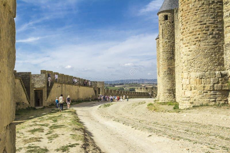 La fortaleza medieval de Carcasona imagen de archivo libre de regalías