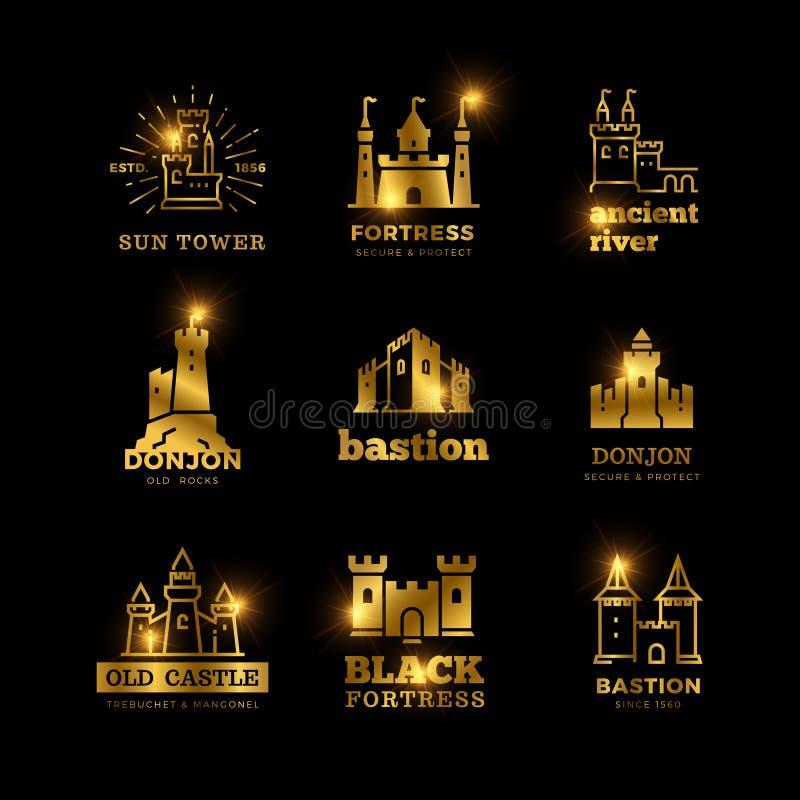 La fortaleza medieval del castillo y del caballero vector el logotipo real antiguo stock de ilustración