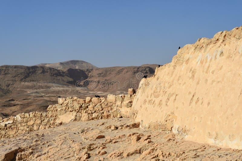 La forteresse de Masada, fortification antique en Israël a situé sur le plateau de roche image libre de droits