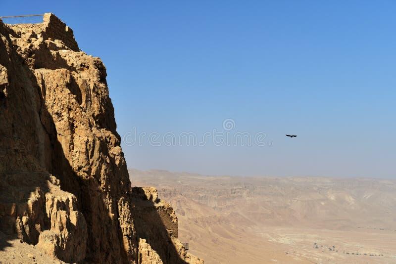 La forteresse de Masada, fortification antique en Israël a situé sur le plateau de roche photo libre de droits