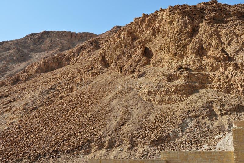 La forteresse de Masada, fortification antique en Israël a situé sur le plateau de roche image stock