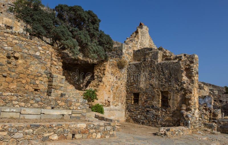 La forteresse vénitienne sur l'île Spinalonga photos libres de droits
