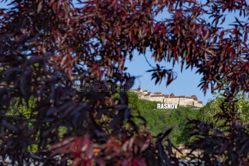La fortezza di Rasnov dalla contea di Brasov, Romania, si siede sull'più alta collina che domini il villaggio medievale di Rasnov immagini stock