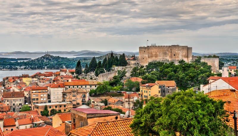La fortezza di St Michael in Sibenik, Croazia fotografia stock