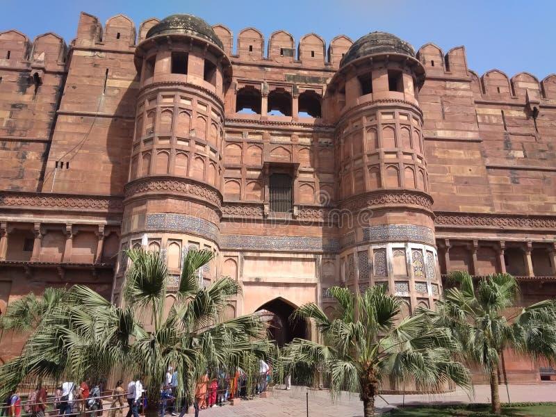 La fortificazione rossa di Agra fotografia stock
