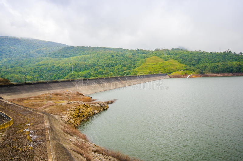 La fortuna Dam in Panama by an artificial lake.  royalty free stock image