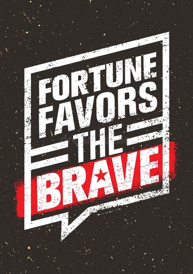 La fortuna favorece la cita creativa inspiradora valiente de la motivación Concepto de diseño de la bandera de la tipografía del  stock de ilustración