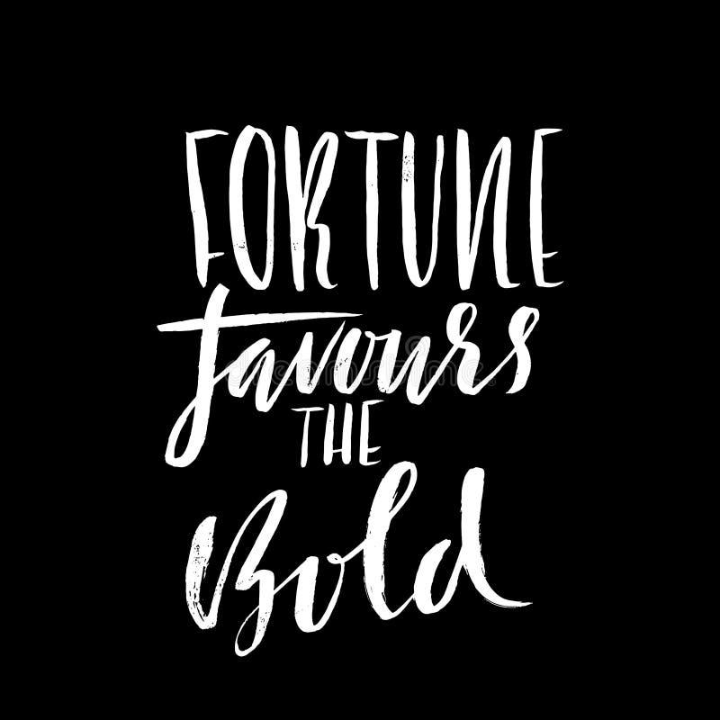 La fortuna favorisce il audace Proverbio disegnato a mano dell'iscrizione Progettazione di tipografia di vettore Iscrizione scrit illustrazione di stock