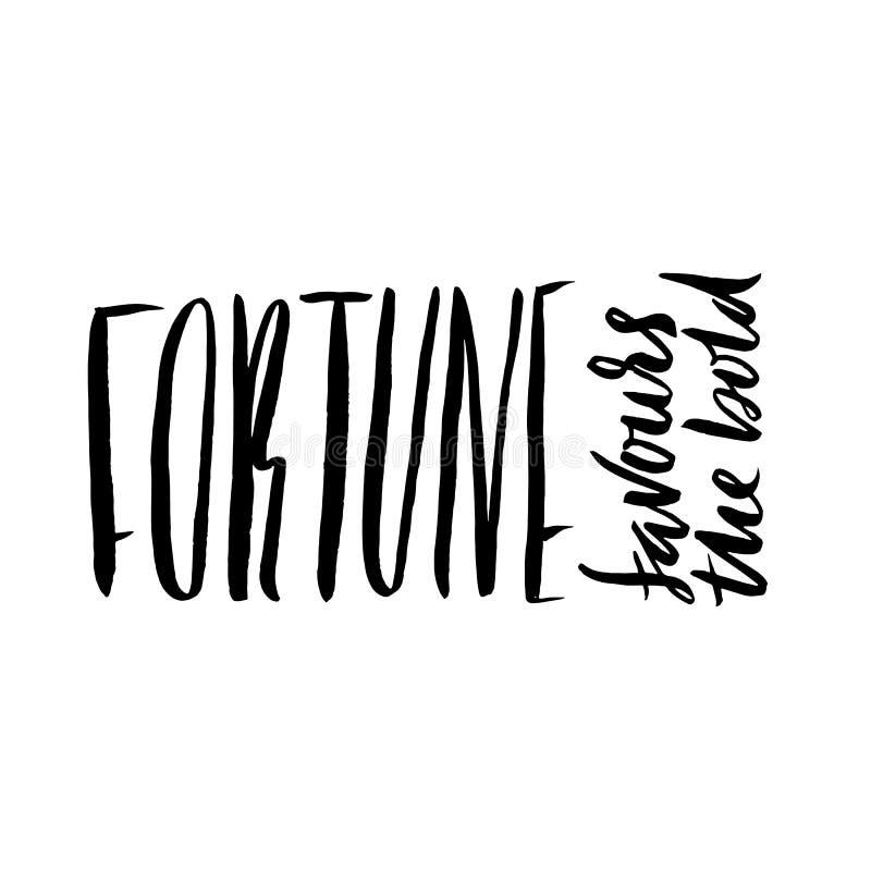 La fortuna favorisce il audace Proverbio disegnato a mano dell'iscrizione Progettazione di tipografia di vettore Iscrizione scrit illustrazione vettoriale