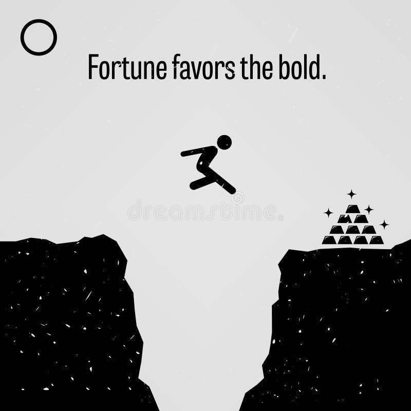 La fortuna favorisce il proverbio audace illustrazione vettoriale