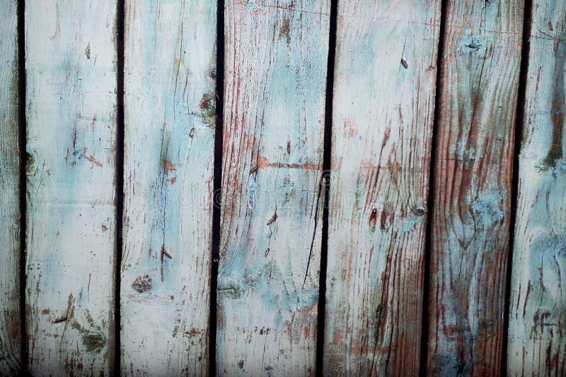 La foto blu ha dipinto il fondo di legno fotografia stock libera da diritti