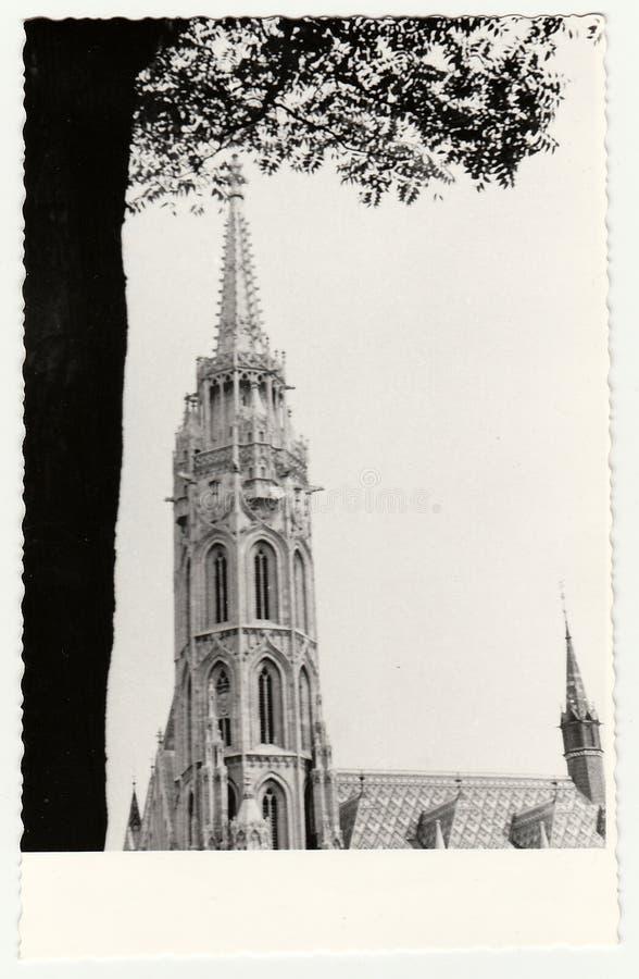 La foto d'annata mostra il primo piano di Royal Palace di Budapest Buda Castle in Ungheria immagini stock