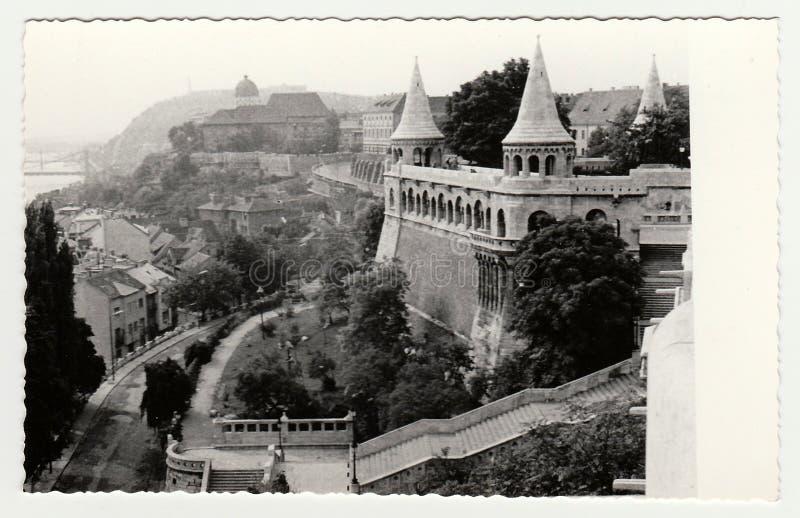 La foto d'annata mostra Royal Palace di Budapest Buda Castle in Ungheria fotografie stock libere da diritti