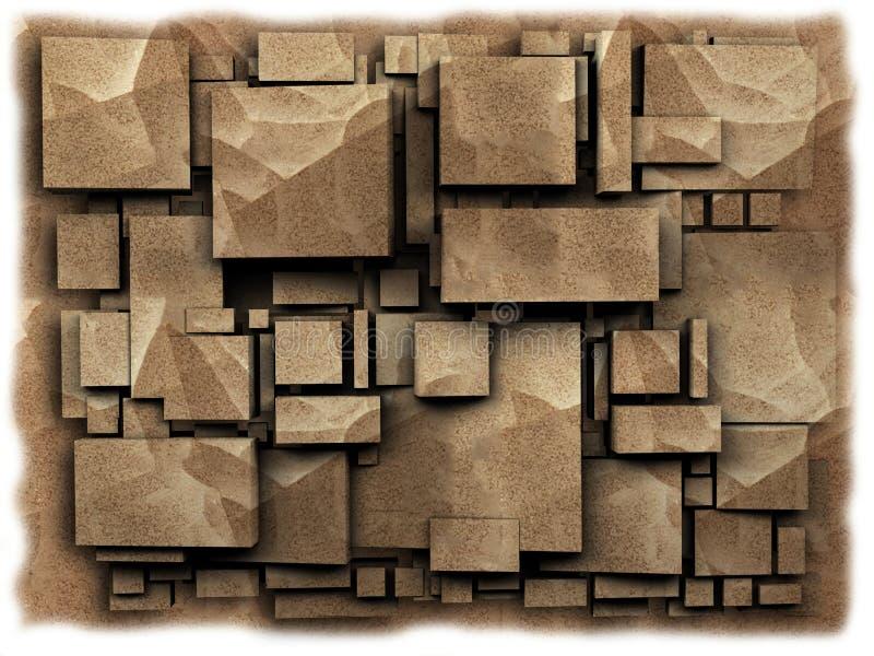 La foto 3D cuba l'arenaria di effetto rappresentazione 3d illustrazione di stock