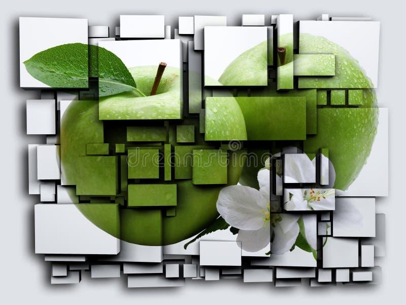 La foto 3D cuba l'effetto Apple verde rappresentazione 3d illustrazione di stock